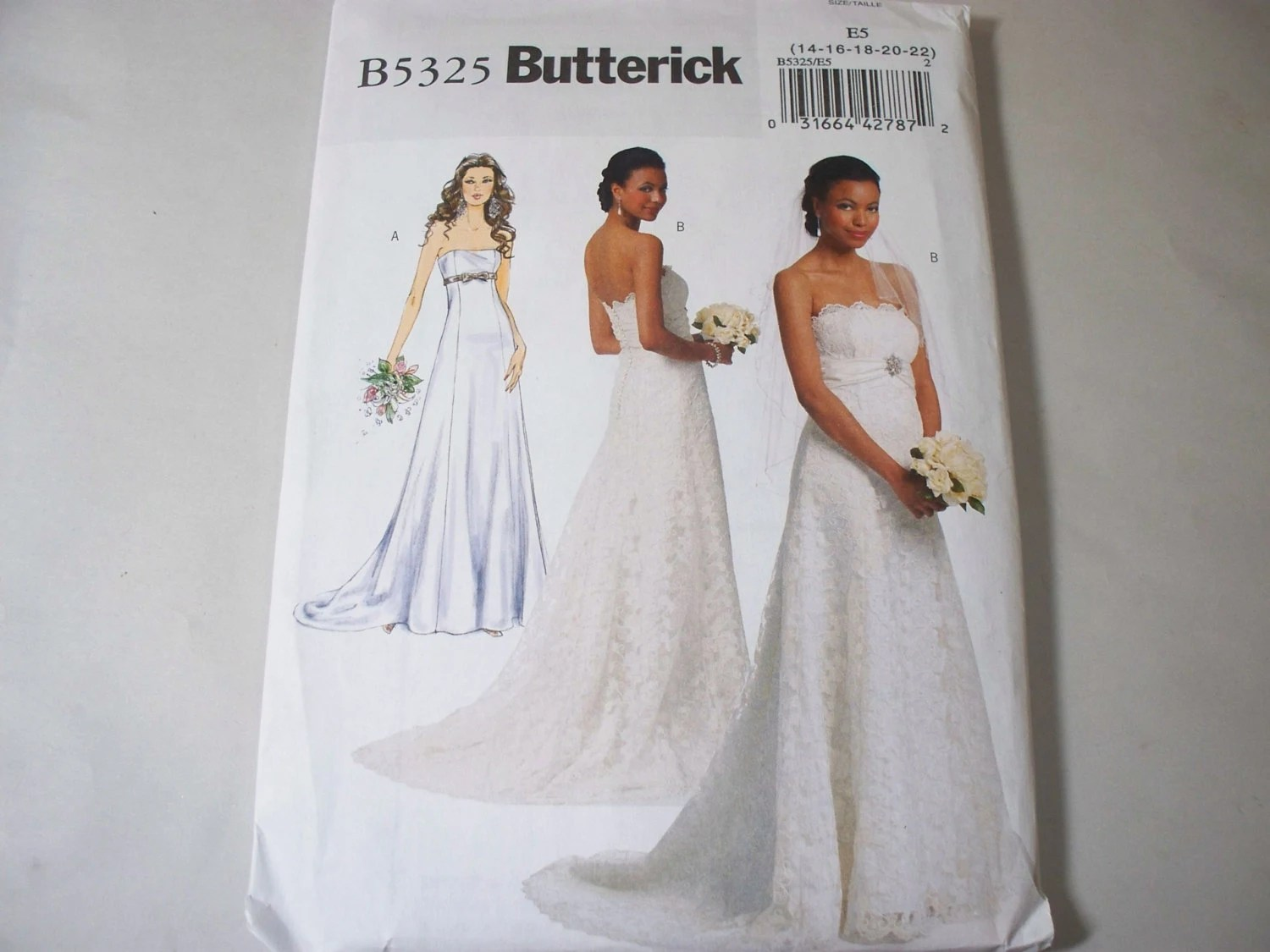 New Butterick Bridal Gown Pattern B5325 E5 14-16-18-20-22
