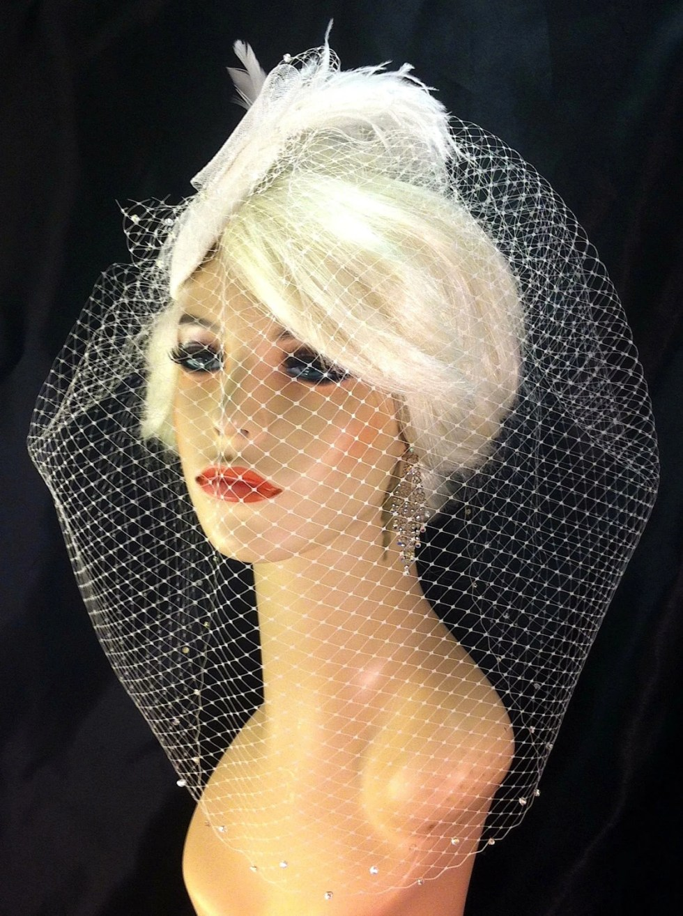 Birdcage Veil, Bridal Hat, Ivory, Feather Fascinator, Wedding Head Piece, Veil, Swarovski Crystals and Rhinestones - Velvet or Dupioni Silk