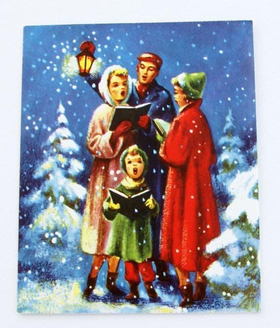 1940s Vintage Carolers Christmas Card UNUSED With Envelope