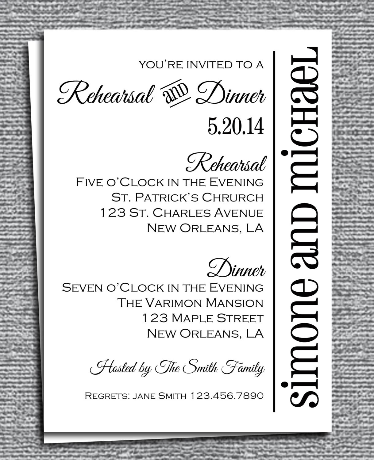 Rehearsal Dinner Invitation Printable Or Printed With Free