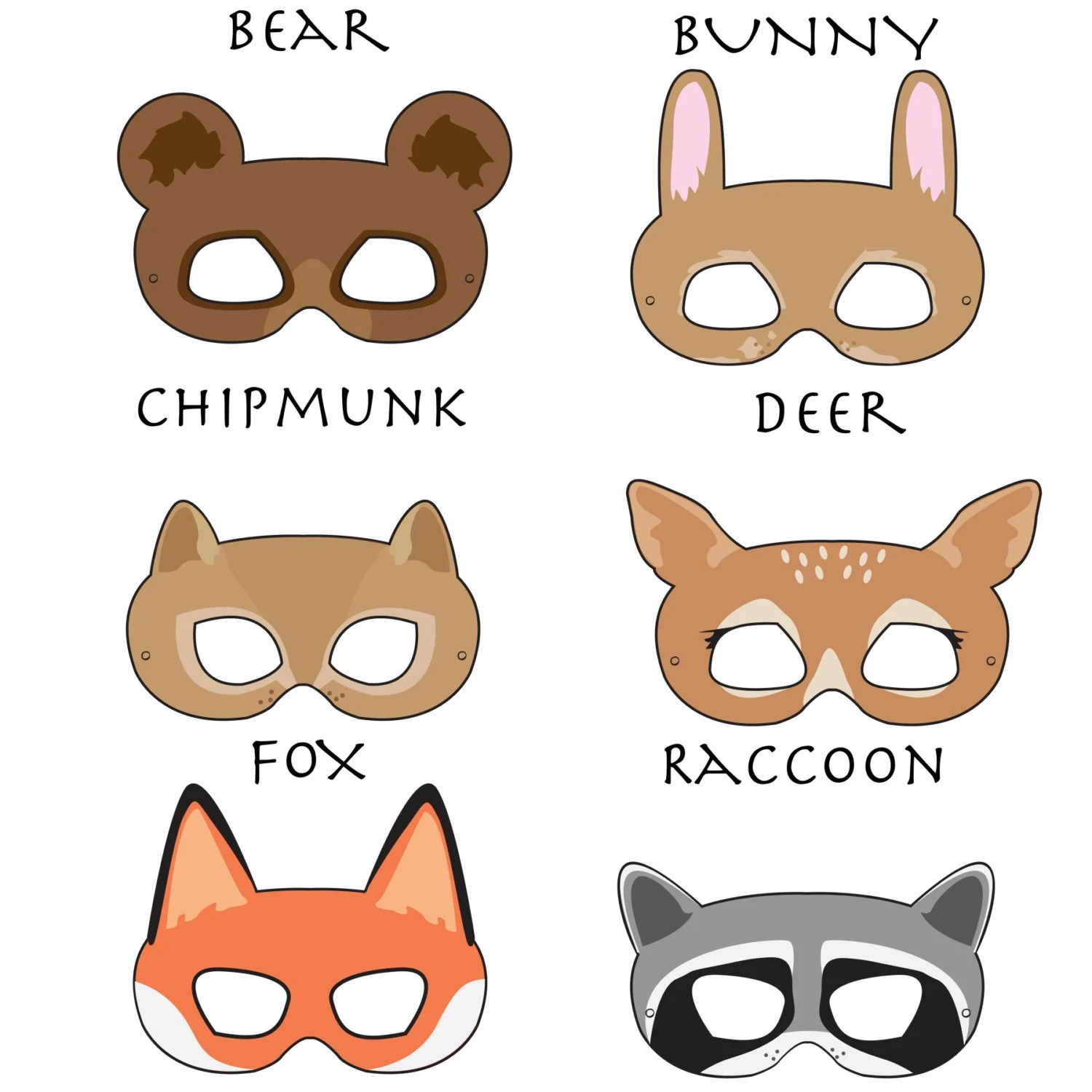 Woodland Forest Animals Printable Masks By Hungrypandasupplies