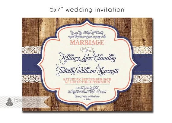 Rustic Wood Amp Lace Wedding Invitation Response Card 2 Piece