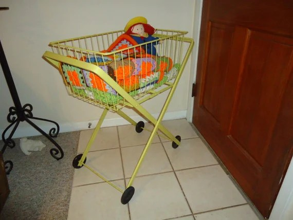 Vintage Laundry Cart Yellow Industrial With By