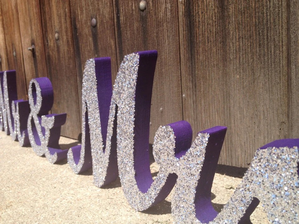 Glittery Mr & Mrs Signs Sweetheart Table Signs By TheLettery