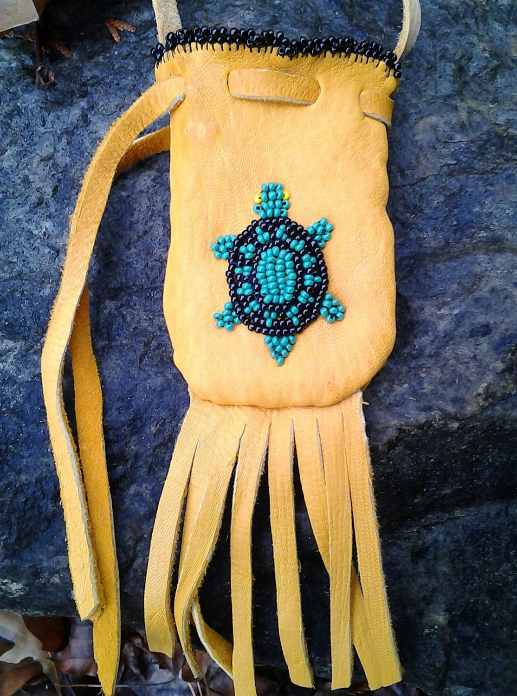 Native American Wool Lined Deerskin Medicine Bag With Beaded
