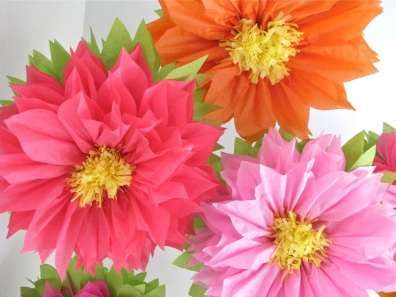 TROPICAL BLOOM. 7 Giant Paper Flowers Wedding Baby / Bridal