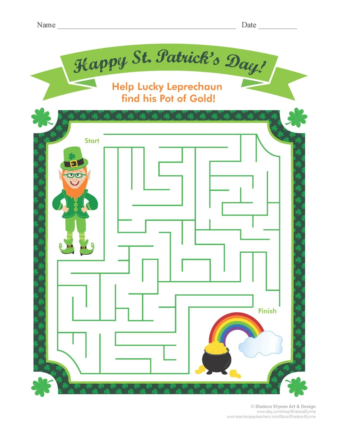 St Patrick S Day Maze Printable Game Instant Download