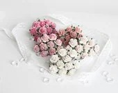 50 pcs - Shades of pink paper rose / 1.5 cm roses / mulberry paper roses - swettacraftsuplies