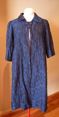 Vintage 1950s Blue Rayon Evening Swing Coat