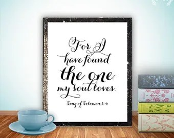 Bible verse art Print, scripture wedding decor verses printable wall art decor poster, digital - Song of Solomon 3:4