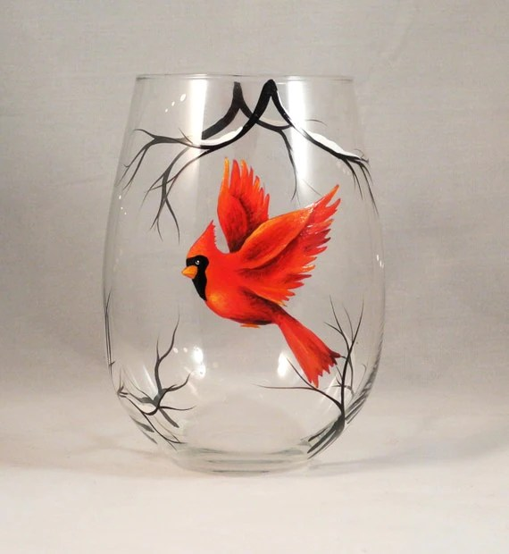 Red Cardinal Hand Painted On Stemless Wine Glass By