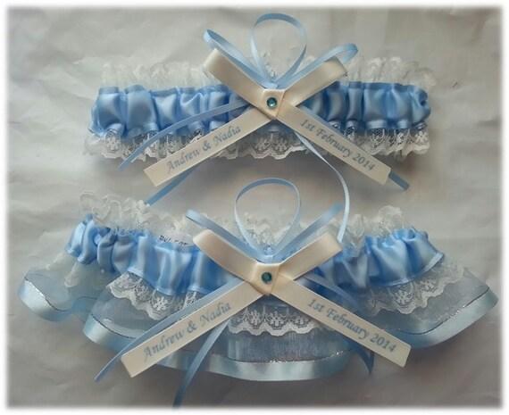 Personalized Wedding Garter Set Beautiful Blue Satin And
