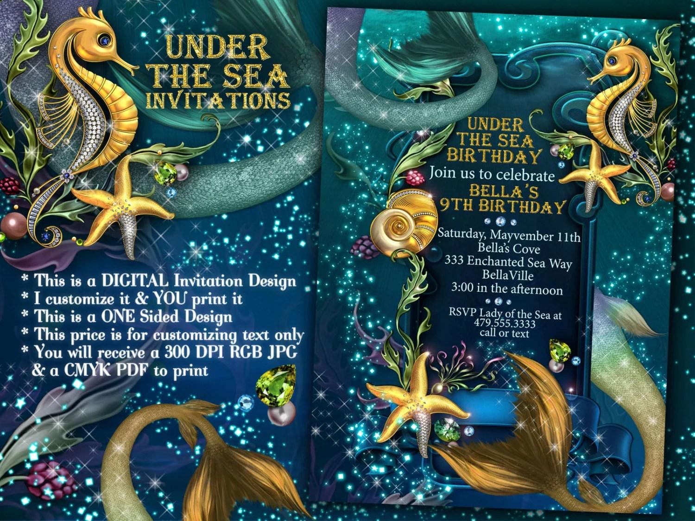 Mermaid Mermaid Invitations Mermaid Party Under The Sea