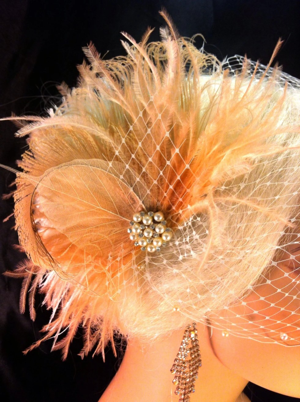 Wedding Head Piece, Bridal Feather Fascinator,Wedding Veil Swarovski Pearl Edge, Wedding Fascinator, Feather Fascinator, Blush and Champagne