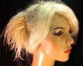 Wedding Headband, Wedding Hair Accessory , Bridal Headband with Bandeau Veil, Rhinestone Headband, Hollywood Royalty, Champagne