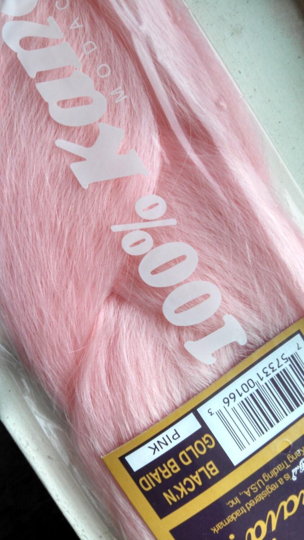 Pastel Baby Pink Kanekalon Jumbo Braid Black N Gold High