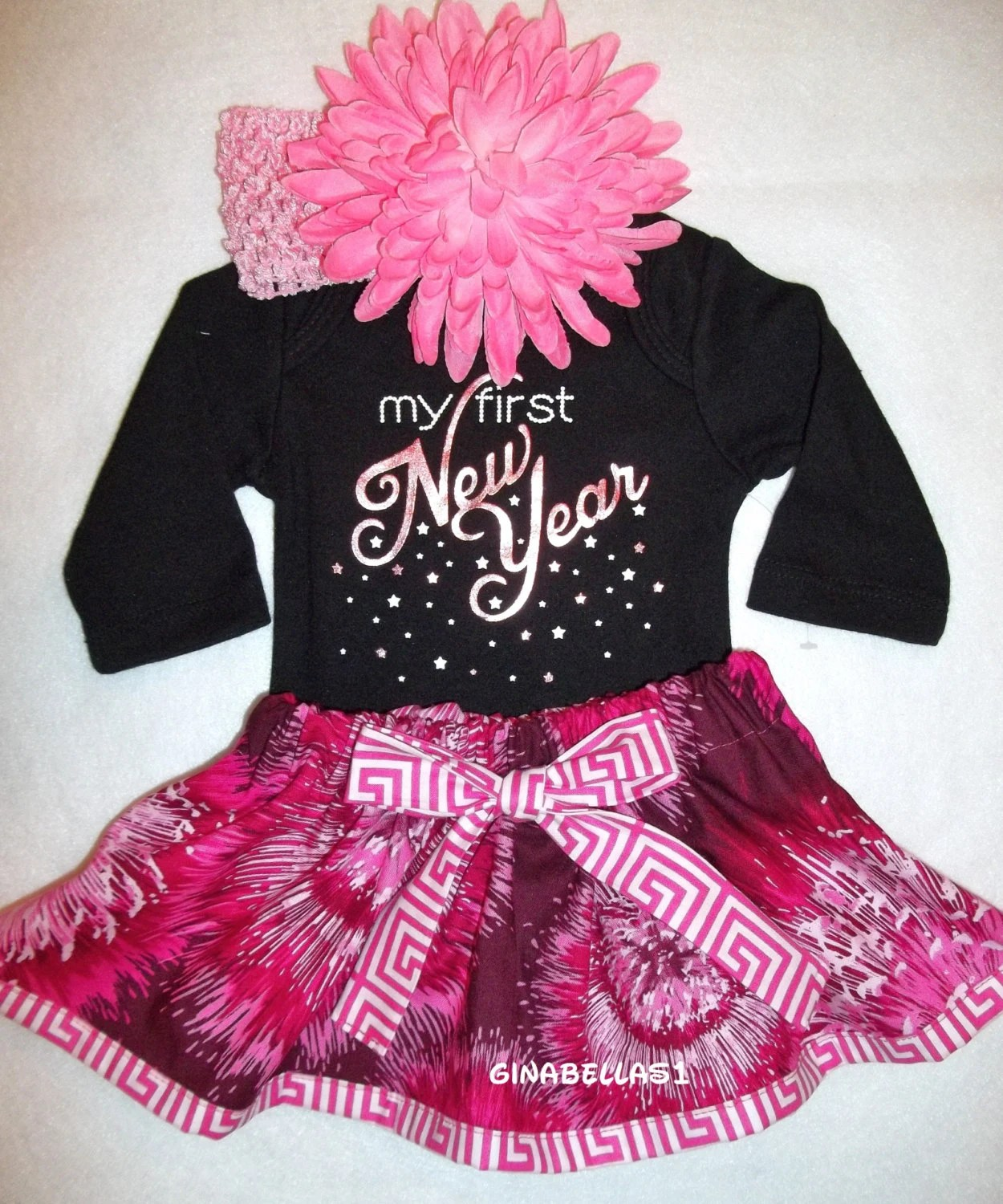 First New Years Baby Girl Onesie Outfit Tutu Skirt By