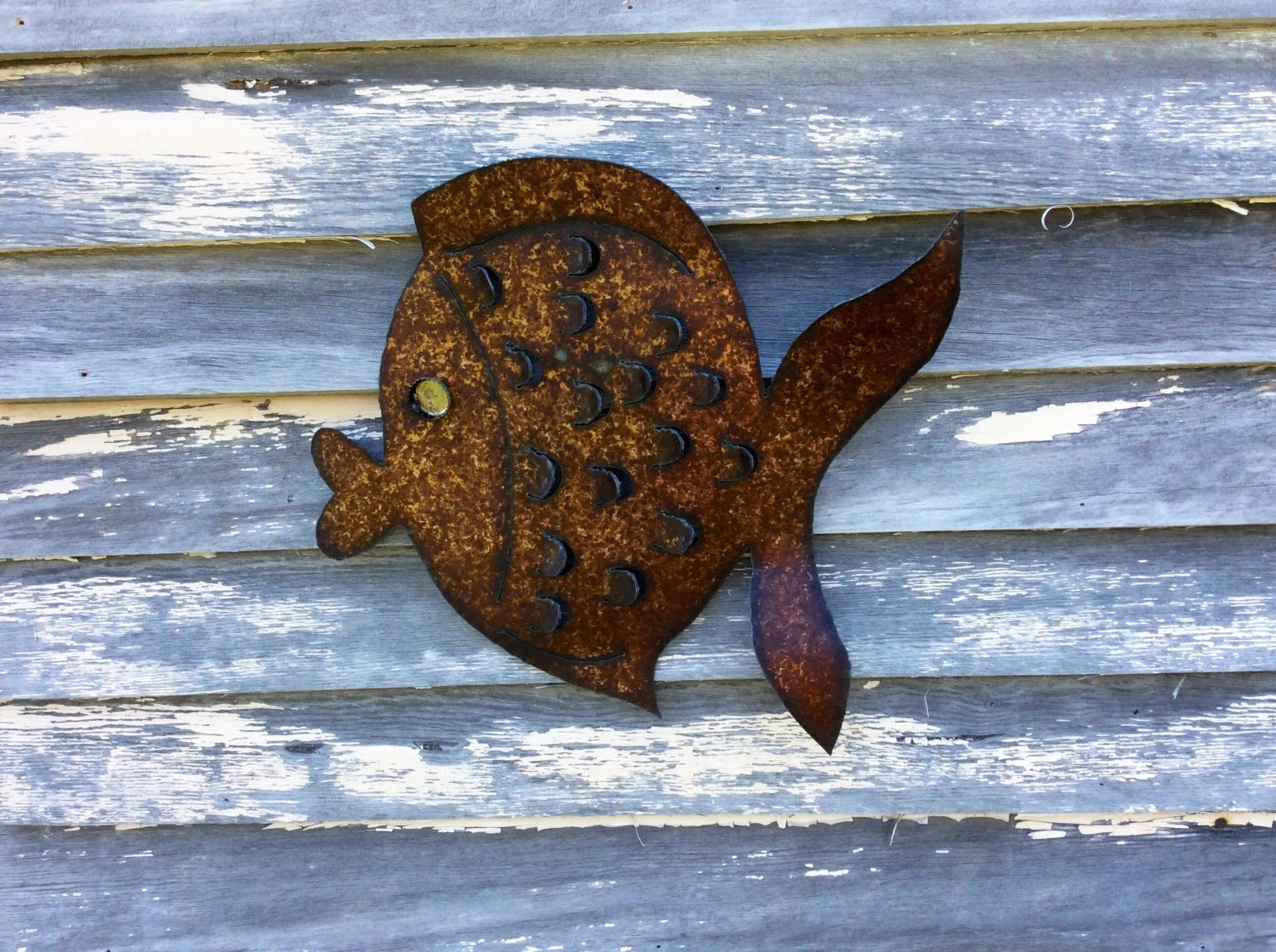 Large Rusted Metal Garden Art Fish Pool Beach House