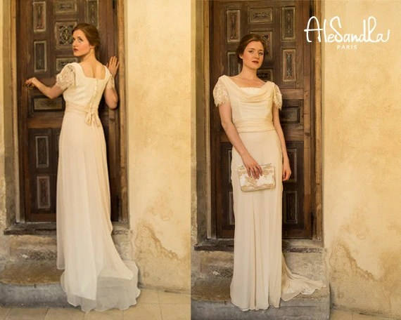 Vintage 1930s Inspired Bias Cut Cowl Neck Wedding Dress