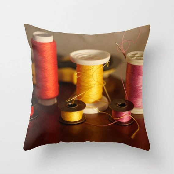 Sewing notions and threads in red, yellow and pink, decorative throw pillow case cushion cover ideal gift for every crafter - Inmyc