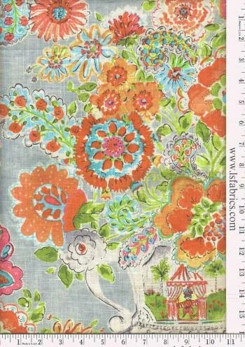 Items Similar To Orange Turquoise Green And Grey Floral Curtain Panels Custom Drapery In