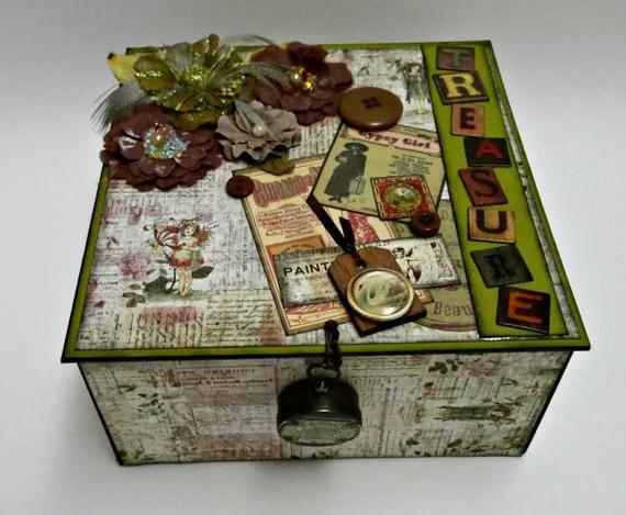 """Decorative Box, Jewelry Box, Trinket Box, Treasure Box,  """"TREASURE"""" in Vintage Steampunk Style"""