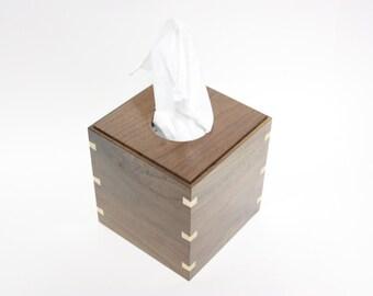 Walnut tissue box holder with dovet ail splines