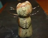 Prayerful Ferret Angel Stone Sculpture - SchoonerStoneworks