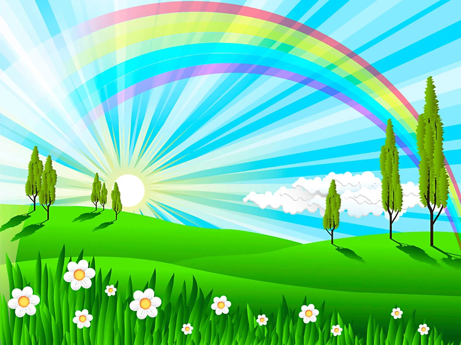Rainbow Wall Decal Field Nature Artwork Cartoon Scenery Wall