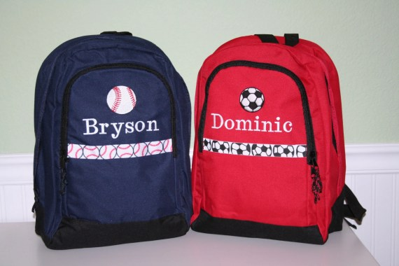 Handmade Back to School Supplies - PERSONALIZED Backpack Designed by You; Choose color, font, trim, and graphic from Embroidery Mark