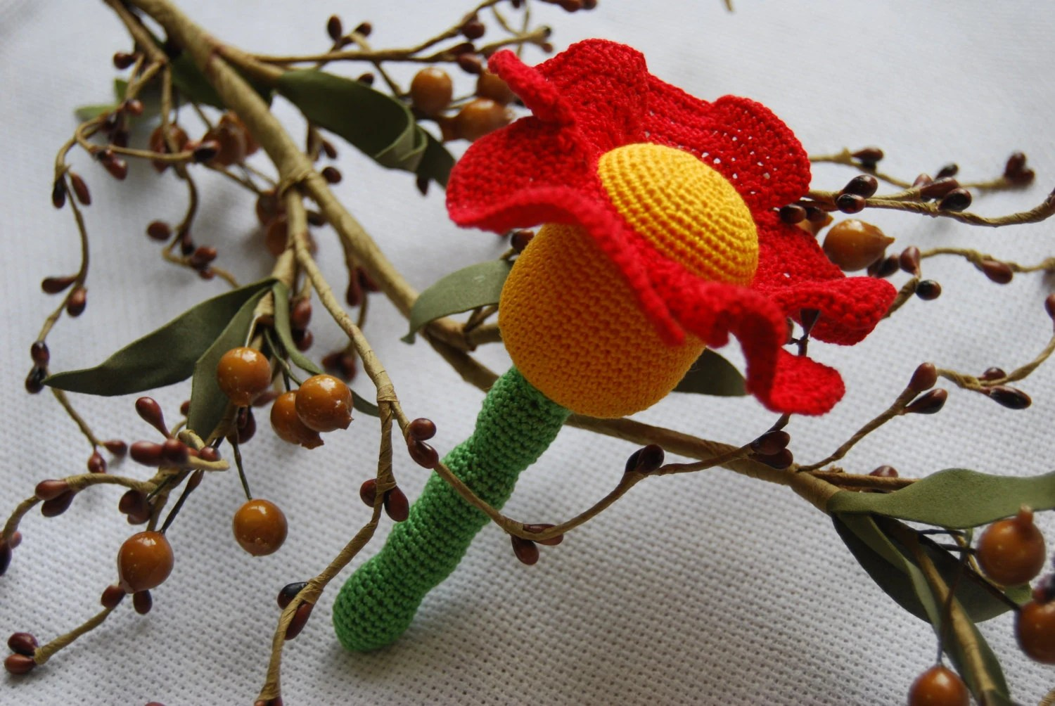 Children's toy /Teeth teether/ Wooden knitting with crochet  toy/ toy with flower - Rainbowcaterpillar