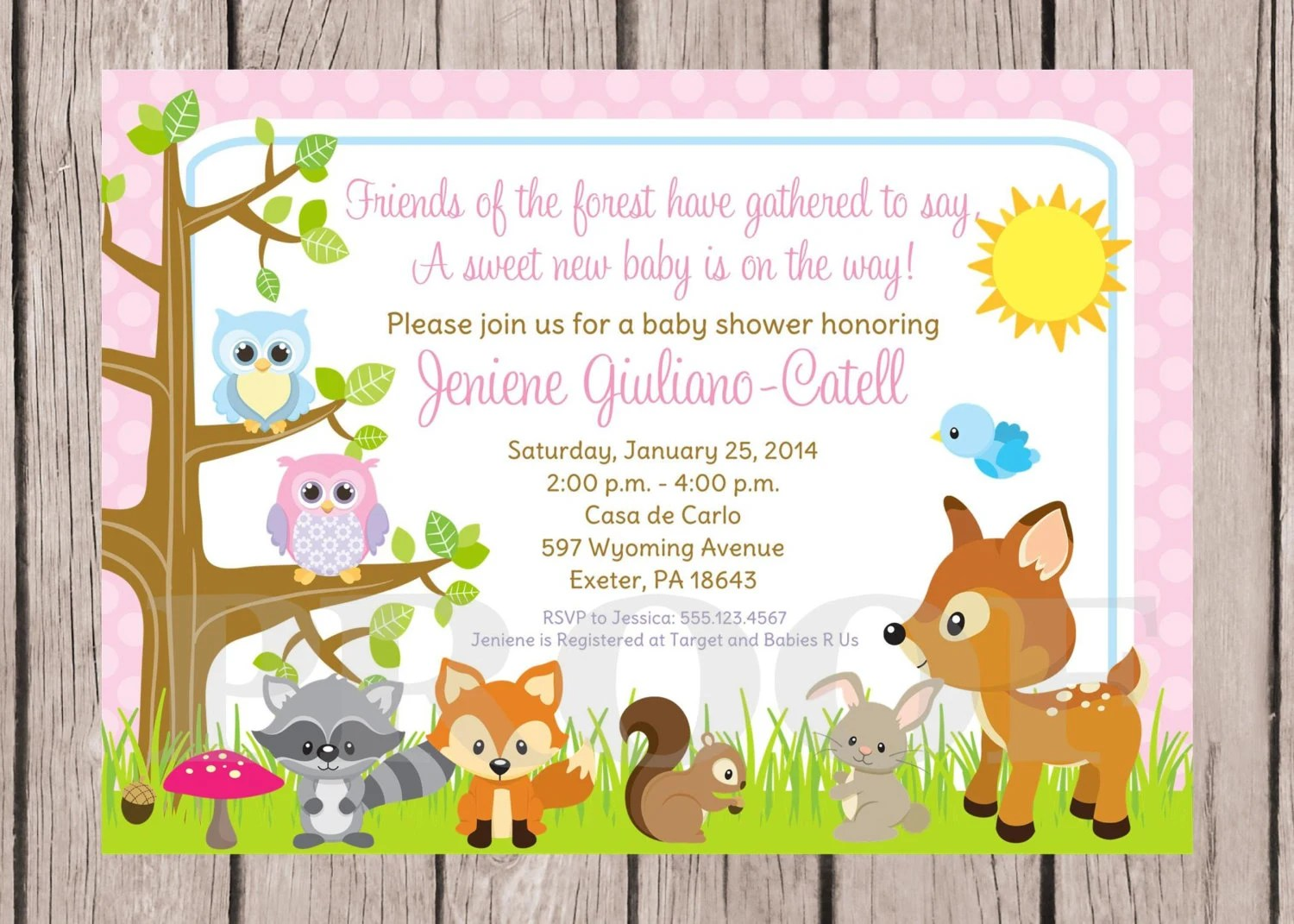 Printable Woodland Forest Animals Baby Shower Invitation