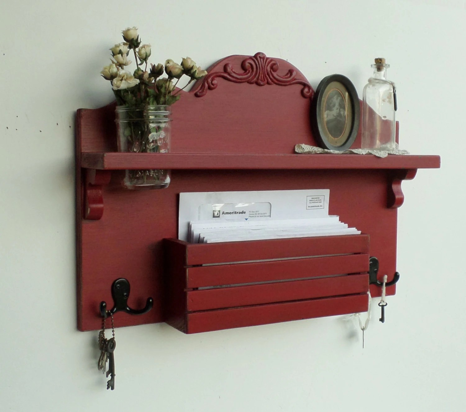 NEW .....French Cottage Mail and Key Holder ...Organizer.....Smoked Paprika - cottagehomedecor
