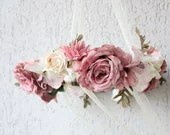 Dusky Pink Floral Chandelier - Floral Wreath Mobile Fairytale Flower wreath/Wedding floral decoration Photo prop Floral arrangement ring