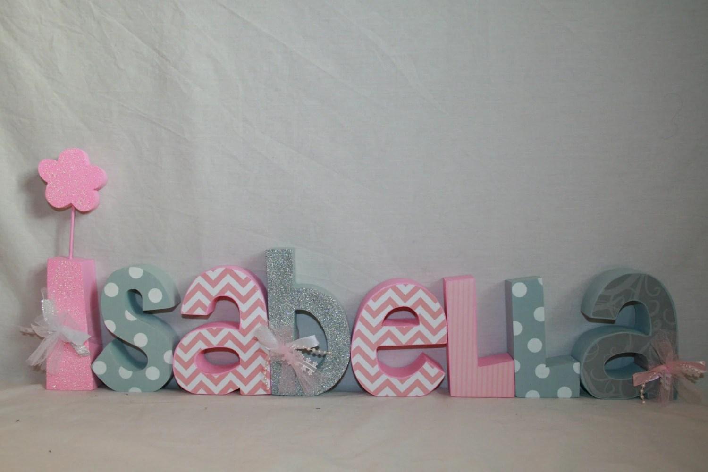 Decorative Wooden Nursery Letters 8 Letter Set Baby Girl