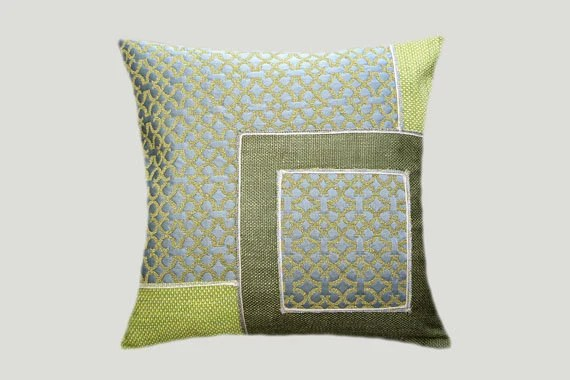 Decorative Pillow Case Green Grey Off White Colors By