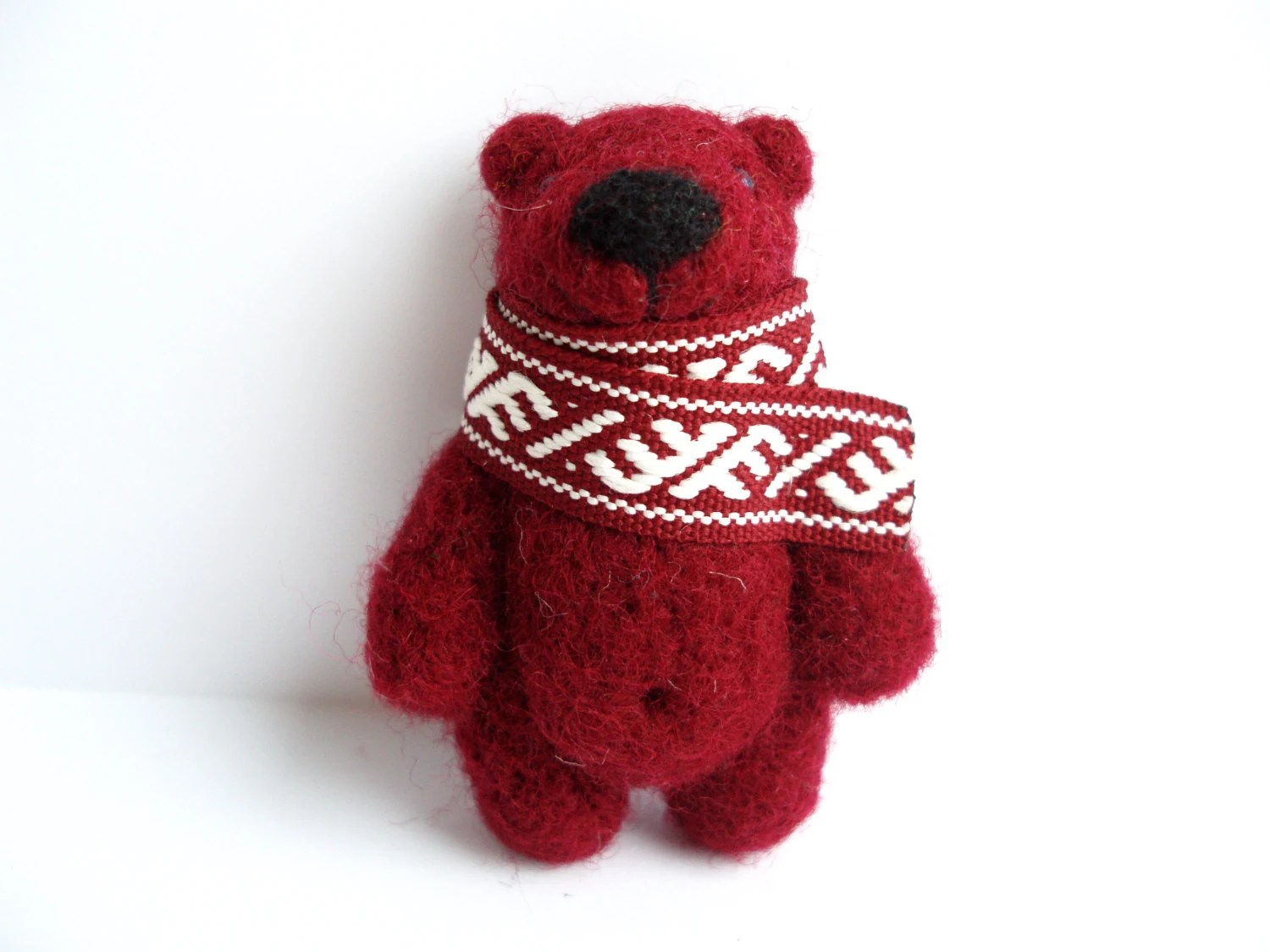 Needle felted bear, Red Bear brooch, Christmas gift - MishaShop