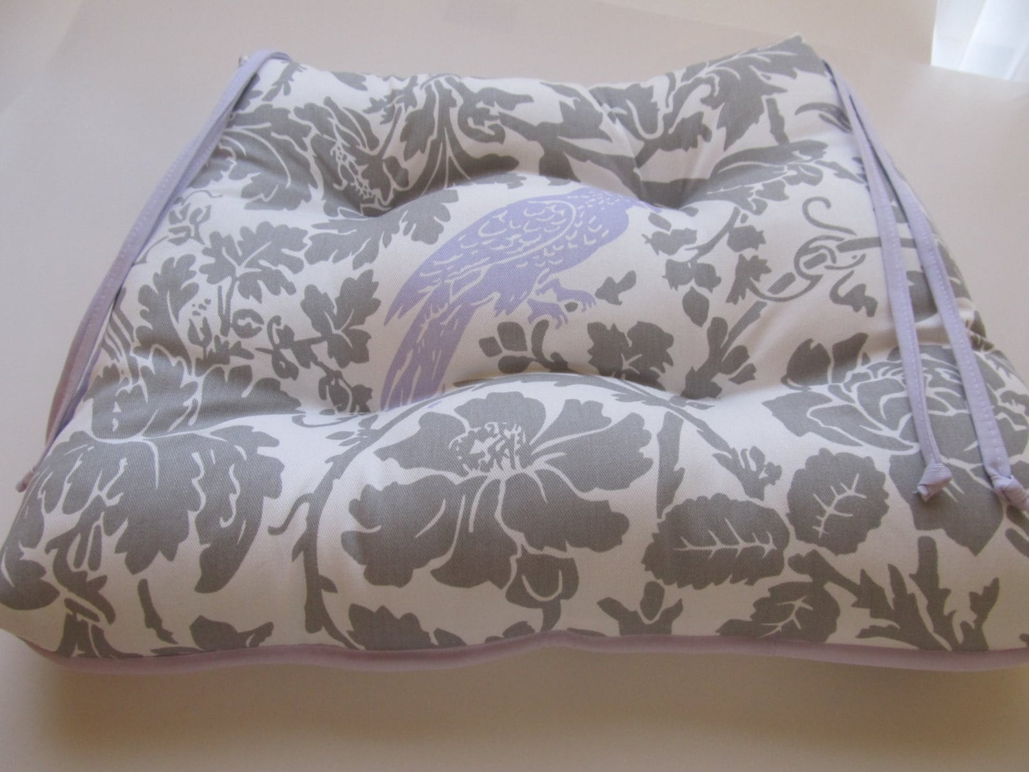 Tufted Chair Cushion Pad In Grey White Floral With By