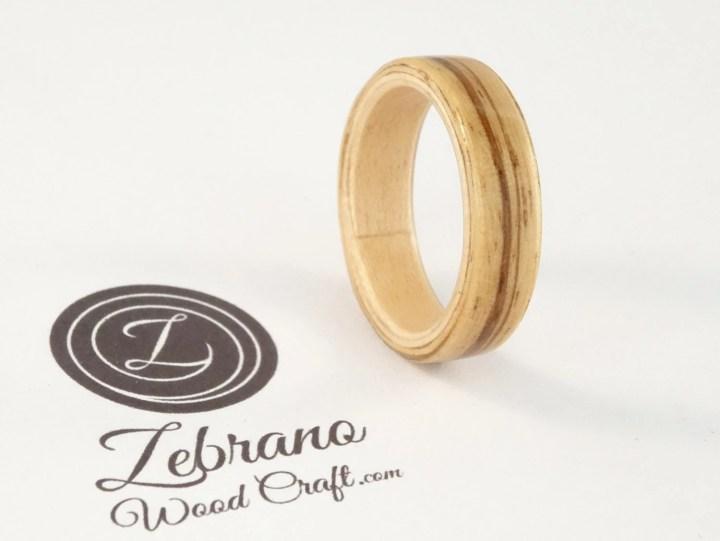 Bent Wood Ring Zebra Wood...