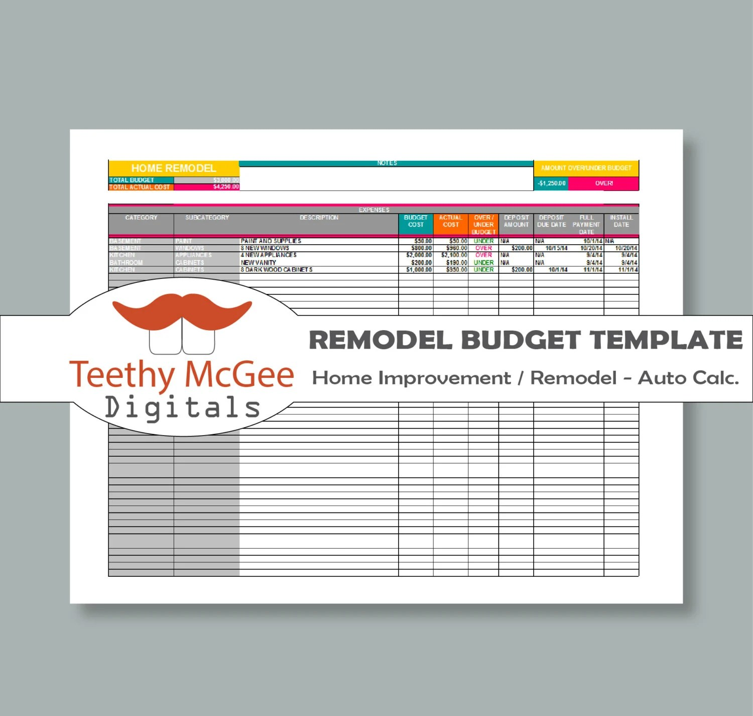 Home Improvement Remodel Budget Template