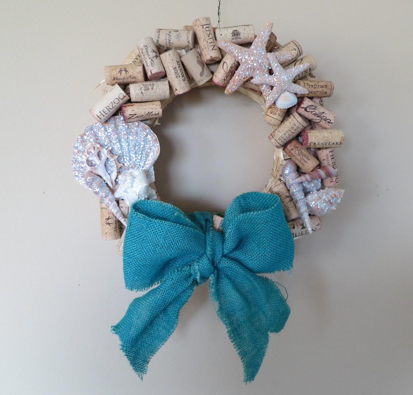 Ocean Beach Themed Christmas Cork Wreath With Burlap Bow