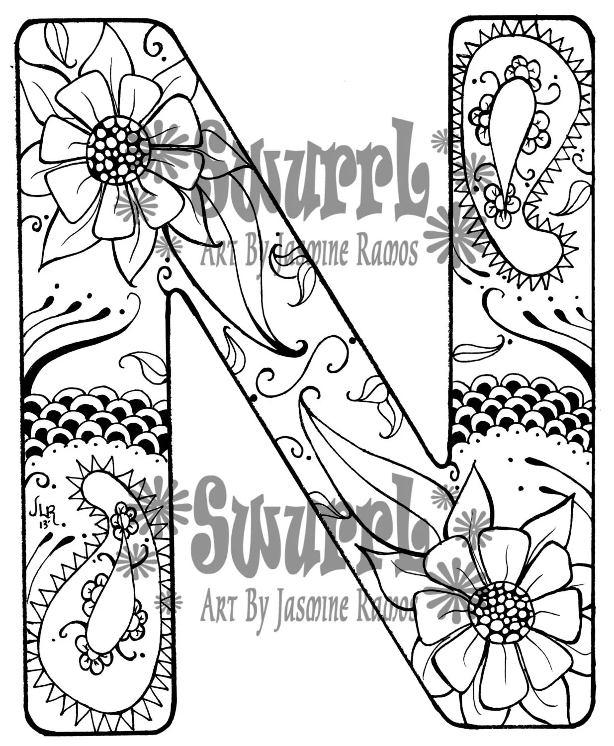 Instant Download Coloring Page Monogram Letter N By Swurrl