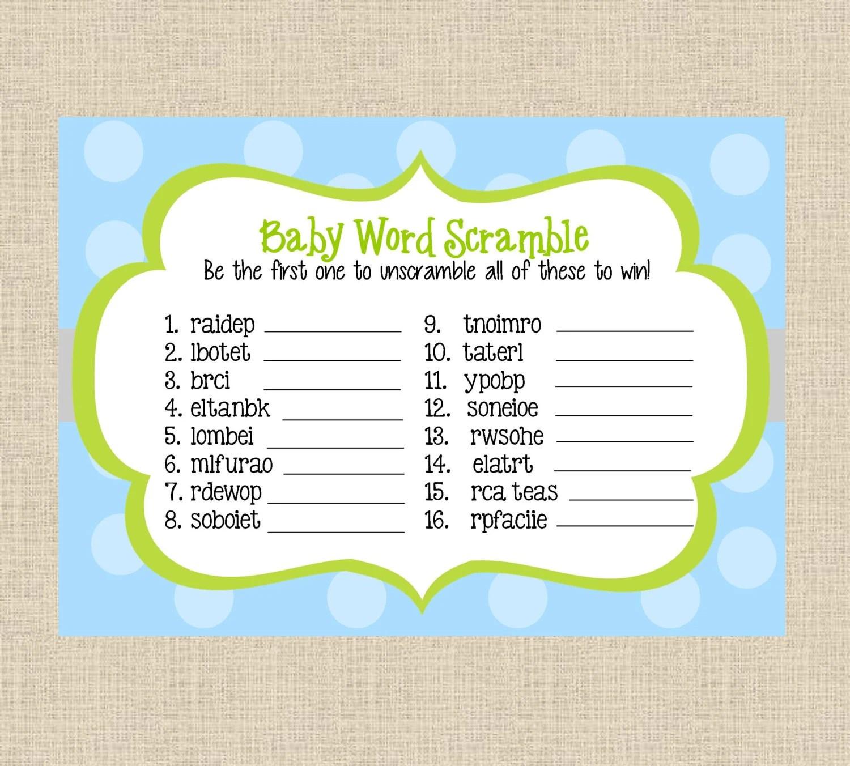 Instant Download Baby Boy Word Scramble Printable Baby