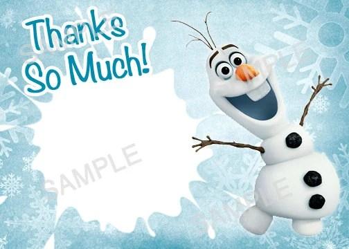 Frozen Olaf Thank You Card Printable Frozen Olaf Olaf Thank