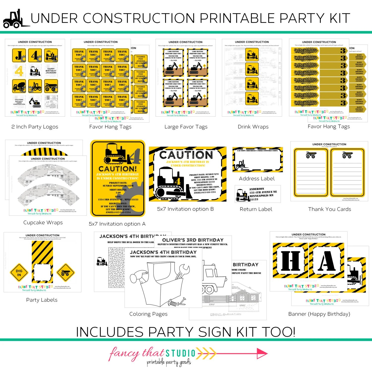 Construction Birthday Under Construction Party By Fancythatstudio