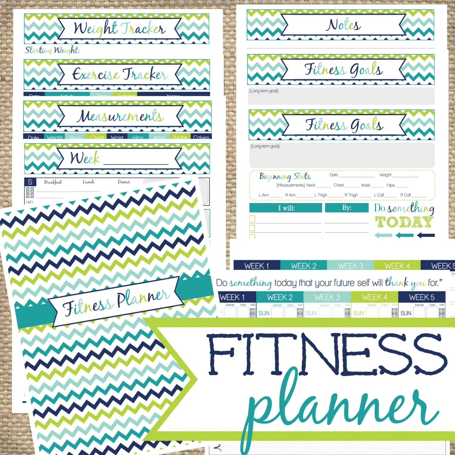 Fitness Planner Instant Download Track Calories Eaten And
