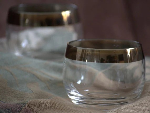 Ombre Gold Brass Rim Roly Poly Glassware Votive Candle