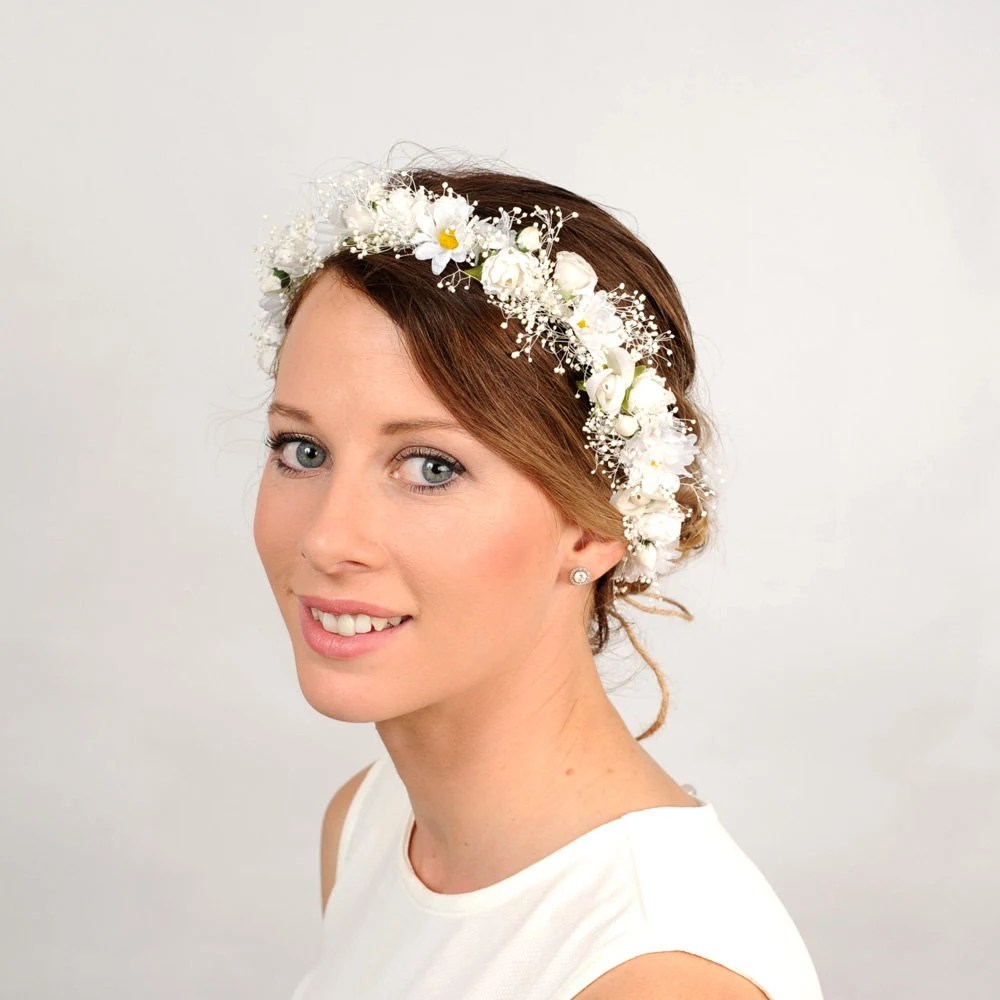 White Flower Head Crown Flower Crown Wedding Daisy
