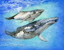 Humpback whale painting, whale art print, ocean painting, watercolour  8.5 x 12 inch print