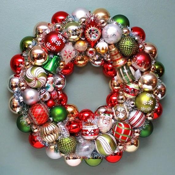 Vintage Christmas Ball Wreath Mercury Glass Wreath By